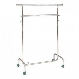 Penjador amb rodes d'altura regulable, 100 cm de llarg i dos barres.