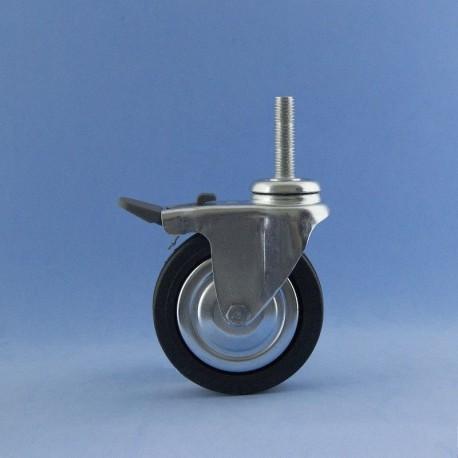 Roda de 80 mm con insiro a rosca e freo.
