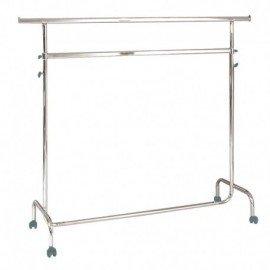 Penjador amb rodes d'altura regulable, 150 cm de llarg i dos barres.