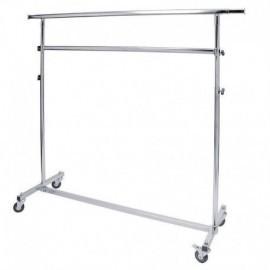 Perchero plegable de altura regulable, 150 cm de largo y dos barras.