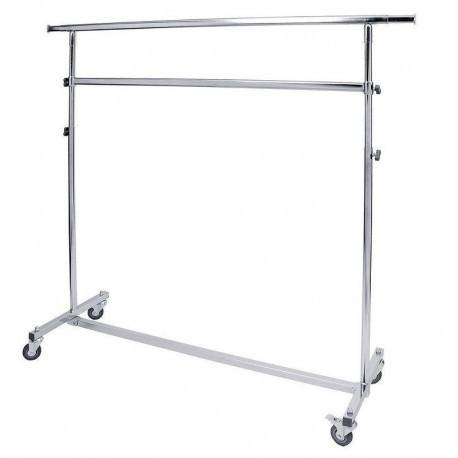 Perchero plegable de altura regulable, 150 cm de longo e dúas barras.