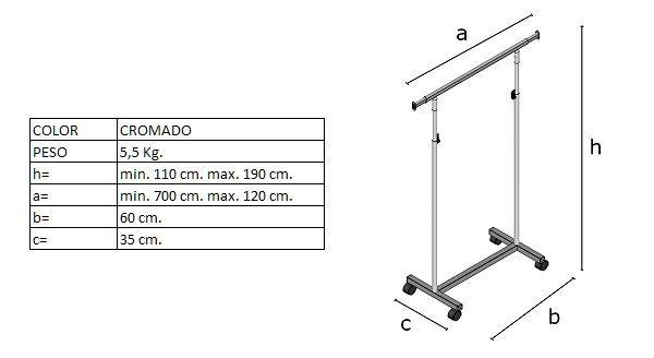 Medidas del perchero DP0440R