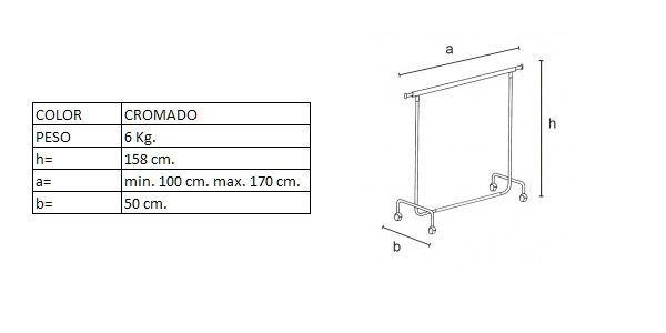 Medidas del perchero DP1250F